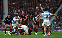 England's Ben Youngs wins the ball in a tackle and is stopped by the referee <br /> <br /> Photographer Rachel Holborn/CameraSport<br /> <br /> International Rugby Union Friendly - Old Mutual Wealth Series Autumn Internationals 2017 - England v Argentina - Saturday 11th November 2017 - Twickenham Stadium - London<br /> <br /> World Copyright &copy; 2017 CameraSport. All rights reserved. 43 Linden Ave. Countesthorpe. Leicester. England. LE8 5PG - Tel: +44 (0) 116 277 4147 - admin@camerasport.com - www.camerasport.com