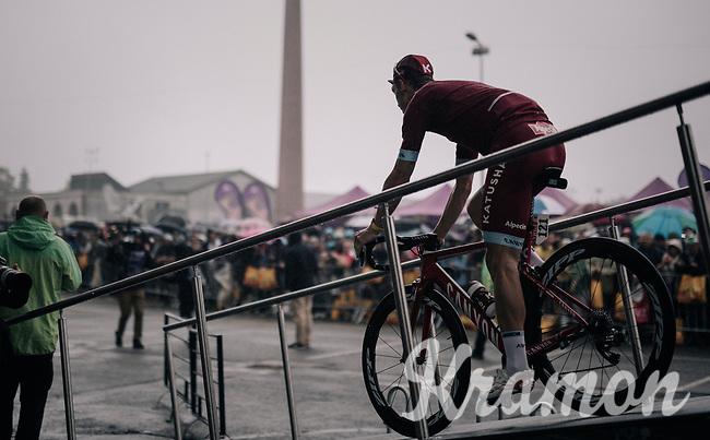 sign-on podium for Tony Martin (GER/Katusha-Alpecin)<br /> <br /> 104th Tour de France 2017<br /> Stage 12 - Pau &rsaquo; Peyragudes (214km)