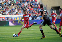 Chicago Fire forward Brian McBride (20) takes a shot.  The Chicago Fire tied DC United 0-0 at Toyota Park in Bridgeview, IL on Oct. 16, 2010.