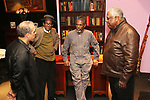 Knock Me A Kiss director Chuck Smith, playwright Charles Smith, Andre De Shields and New Federal Theatre Producer Woodie King on the opening night of Knock Me A Kiss.  © Lia Chang
