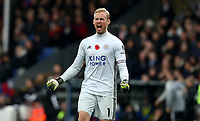 3rd November 2019; Selhurst Park, London, England; English Premier League Football, Crystal Palace versus Leicester City; Kasper Schmeichel of Leicester City  celebrates the goal from Caglar Soyuncu for 0-1 in the 57th minute - Strictly Editorial Use Only. No use with unauthorized audio, video, data, fixture lists, club/league logos or 'live' services. Online in-match use limited to 120 images, no video emulation. No use in betting, games or single club/league/player publications