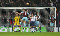Burnley's Ashley Barnes heads clear<br /> <br /> Photographer Rob Newell/CameraSport<br /> <br /> The Premier League - Tottenham Hotspur v Burnley - Saturday 15th December 2018 - Wembley Stadium - London<br /> <br /> World Copyright &copy; 2018 CameraSport. All rights reserved. 43 Linden Ave. Countesthorpe. Leicester. England. LE8 5PG - Tel: +44 (0) 116 277 4147 - admin@camerasport.com - www.camerasport.com