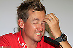 A very tired Ian Poulter being intervieved after winning his match at the end of the afternoon Quarter Final session on Day 3 of the Volvo World Match Play Championship in Finca Cortesin, Casares, Spain, 21st May 2011. (Photo Eoin Clarke/Golffile 2011)
