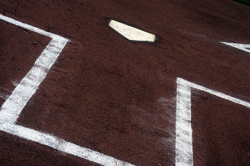Home plate at Wrigley Field moments after it was prepared for the start of a 2006 MLB game.