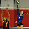 Shelter Island No. 7 Kelly Colligan, right, attempts to spike during the Suffolk County varsity girls' volleyball Class D final against Pierson at Suffolk Community College Grant Campus on Monday, November 9, 2015. Shelter Island won 25-9, 25-4, 25-13.