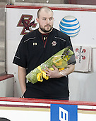 Andrew Zagorianakos (BC - Assistant Manager) -  The Boston College Eagles defeated the visiting Boston University Terriers 5-0 on BC's senior night on Thursday, February 19, 2015, at Kelley Rink in Conte Forum in Chestnut Hill, Massachusetts.