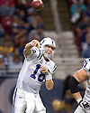 October 25, 2009 - St Louis, Missouri, USA - Colts quarterback Peyton Manning (18) throws a short pass in the game between the St Louis Rams and the Indianapolis Colts at the Edward Jones Dome.  The Colts defeated the Rams 42 to 6.  .