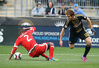 Chester, PA - Sunday, April 19, 2015: The New England Revolution  beat the Philadelphia Union 2-1 in a MLS match at PPL Park.