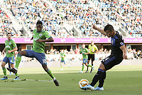 SAN JOSE, CA - SEPTEMBER 29: Kelvin Leerdam #18 of the Seattle Sounders FC attempts to block Nick Lima #24 of the San Jose Earthquakes during a Major League Soccer (MLS) match between the San Jose Earthquakes and the Seattle Sounders on September 29, 2019 at Avaya Stadium in San Jose, California.