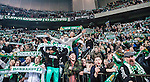 Stockholm 2014-04-14 Fotboll Superettan Hammarby IF - Degerfors IF :  <br /> Hammarbys supportrar med halsdukar &auml;r glada i slutet av matchen<br /> (Foto: Kenta J&ouml;nsson) Nyckelord:  HIF Bajen Degerfors supporter fans publik supporters glad gl&auml;dje lycka leende ler le