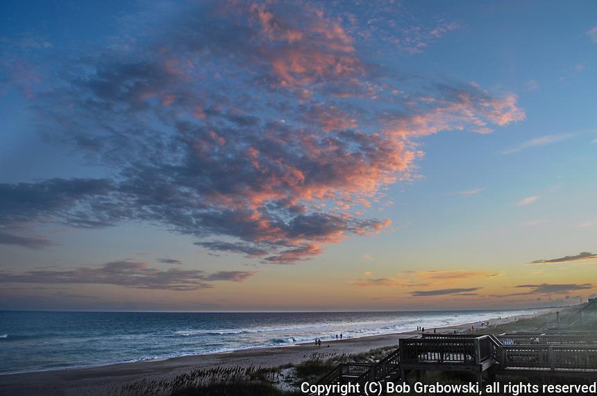 A Beautiful Sunset Over The Atlantic Ocean At Emerald Isle in North Carolina