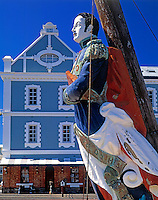 South Africa, Cape Town, V & A Waterfront - figurehead (copy) in front of Albert Mall