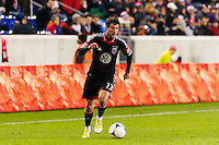 Chris Pontius (13) of D. C. United. D. C. United defeated the New York Red Bulls 1-0 (2-1 in aggregate) during the second leg of the MLS Eastern Conference Semifinals at Red Bull Arena in Harrison, NJ, on November 8, 2012.