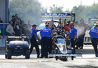Sept. 21, 2012; Ennis, TX, USA: NHRA crew members for top fuel dragster driver Brandon Bernstein during qualifying for the Fall Nationals at the Texas Motorplex. Mandatory Credit: Mark J. Rebilas-