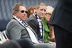 From left, Reno Aces owner Herb Simon, Reno Aces Team President Eric Edelstein and Reno Mayor Hillary Schieve participate in a ceremony announcing the addition of a United Soccer League franchise in Reno, Nev., on Wednesday, Sept. 16, 2015 at the Aces Ballpark. <br /> Photo by Cathleen Allison