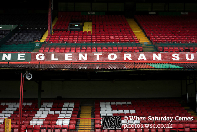 Glentoran 2 Cliftonville 1, 22/10/2016. The Oval, NIFL Premiership. The two-tier main stand reserved for home fans at The Oval, Belfast, pictured before Glentoran hosted city-rivals Cliftonville in an NIFL Premiership match. Glentoran, formed in 1892, have been based at The Oval since their formation and are historically one of Northern Ireland's 'big two' football clubs. They had an unprecendentally bad start to the 2016-17 league campaign, but came from behind to win this fixture 2-1, watched by a crowd of 1872. Photo by Colin McPherson.