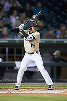 Logan Harvey (15) of the Wake Forest Demon Deacons at bat against the Charlotte 49ers at BB&T BallPark on March 13, 2018 in Charlotte, North Carolina.  The 49ers defeated the Demon Deacons 13-1.  (Brian Westerholt/Four Seam Images)