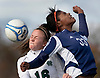 """Headball"".Colts Neck's Michelle Post and Middletown South's  Ashley Pankey battle for a head ballduring first half of their Shore Conference game.  11/05/10"