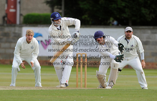 Scottish National Cricket League, Premier Div - Forfarshire V Grange at Forthill, Dundee - leading from the front Grange Capt Sanjay Patel (in tandem with batsman Ollie Hairs) batted his team to the 2010 Premier League title - they chased down the Forfs paltry 90 total in 11.2 overs - Forfs players are (l to r) Matthew Parker, keeper Craig Wallace, and Capt Ryan Watson - Picture by Donald MacLeod - mobile 07702 319 738 - clanmacleod@btinternet.com - words if required from William Dick 077707 839 23