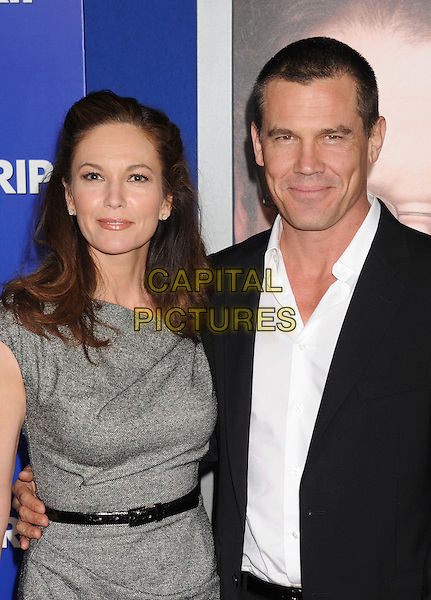 "Diane Lane & Josh Brolin.""The Guilt Trip"" Los Angeles Premiere held at the Regency Village Theatre, Westwood, California, USA..December 11th, 2012.half length dress belt grey gray black  suit white shirt married husband wife .CAP/ROT/TM.©Tony Michaels/Roth Stock/Capital Pictures"
