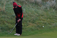 Stephen McDermott (Highfield) chips onto the 12th green during Round 2 of the Ulster Boys Championship at Portrush Golf Club, Portrush, Co. Antrim on the Valley course on Wednesday 31st Oct 2018.<br /> Picture:  Thos Caffrey / www.golffile.ie<br /> <br /> All photo usage must carry mandatory copyright credit (&copy; Golffile | Thos Caffrey)