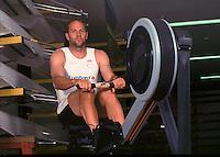 Henley, United Kingdom, Steve Redgrave Leander Club, Boathouse Ergo and carrying blades/oars 03.07.2000. [Mandatory Credit. Peter Spurrier/Intersport Images]