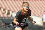 Los Angeles, CA 04/22/16 - Meg Lentz (Stanford #6) in action during the NCAA Stanford-USC Division 1 women lacrosse game at the Los Angeles Memorial Coliseum.  USC defeated Stanford 10-9/