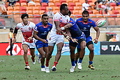 2nd February 2019, Spotless Stadium, Sydney, Australia; HSBC Sydney Rugby Sevens; Samoa versus Japan; Kameli Raravou Soejima of Japan manages to pass the ball under pressure