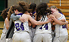 Port Jefferson varsity girls basketball teammates celebrate after their 43-30 win over Haldane in the NYSPHSAA varsity girls basketball Class C Southeast Regional Final at SUNY Old Westbury on Thursday, March 9, 2017.