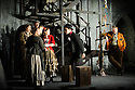 """English Touring Opera presents """"Don Giovanni"""", by Wolfgang Amadeus Mozart, at the Hackney Empire.  Directed by Lloyd Wood, with set & costume design by Anna Fleischle and lighting design by Guy Hoare. Picture shows:  Lucy Hall (Zerlina), Bradley Travis (Masetto), Matthew Stiff (Leporello)."""
