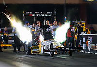 May 31, 2019; Joliet, IL, USA; NHRA top fuel driver T.J. Zizzo during qualifying for the Route 66 Nationals at Route 66 Raceway. Mandatory Credit: Mark J. Rebilas-USA TODAY Sports