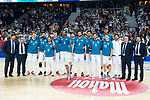 Real Madrid pose to media with Euroleague champions cup during first match quarter finals of Liga Endesa Playoff between Real Madrid and Iberostar Tenerife at Wizink Center in Madrid, Spain. May 27, 2018. (ALTERPHOTOS/Borja B.Hojas)