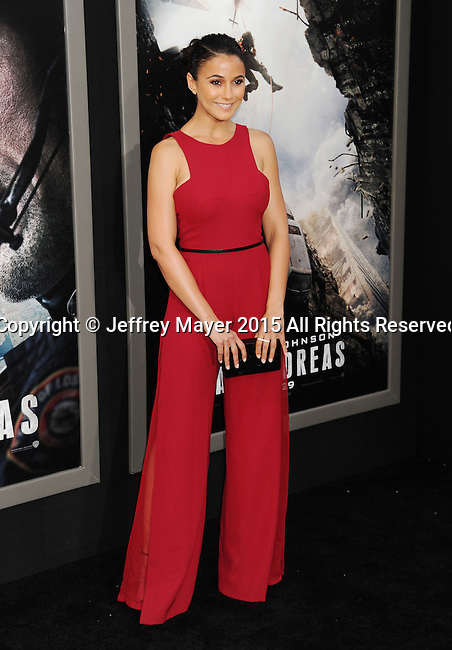 HOLLYWOOD, CA - MAY 26: Actress Emmanuelle Chriqui arrives at the 'San Andreas' - Los Angeles Premiere at TCL Chinese Theatre IMAX on May 26, 2015 in Hollywood, California.