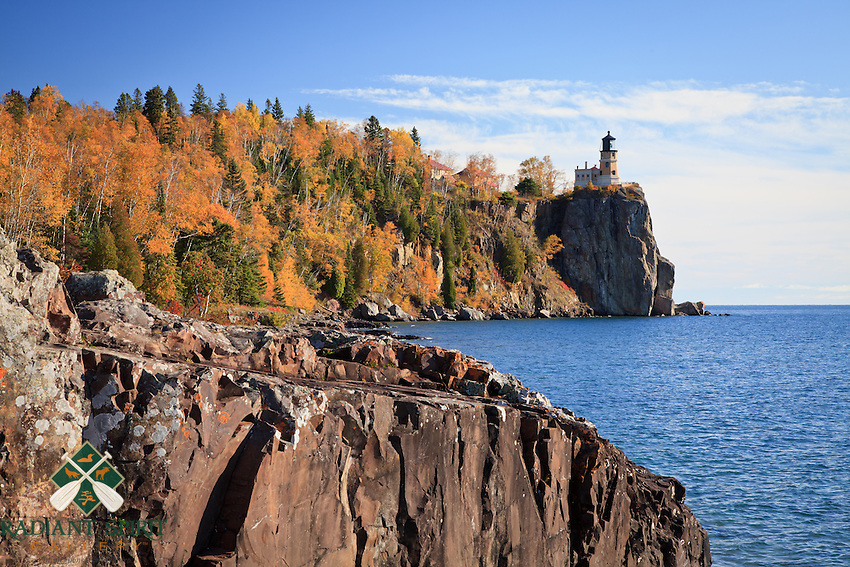 &quot;Ablaze at Split Rock Lighthouse&quot;<br /> Lake Superior's rocky shoreline at Split Rock Lighthouse is adorned with autumn's vibrant palette.