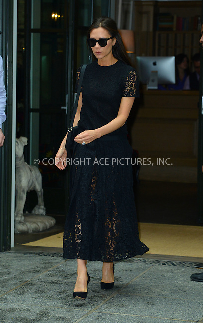 WWW.ACEPIXS.COM<br /> <br /> June 2 2015, New York City<br /> <br /> Victoria Beckham leaving a downtown hotel on June 2 2015 in New York City.<br /> <br /> <br /> Please byline: Curtis Means/ACE Pictures<br /> <br /> ACE Pictures, Inc.<br /> www.acepixs.com, Email: info@acepixs.com<br /> Tel: 646 769 0430