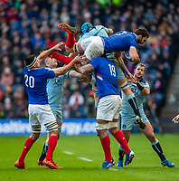 8th March 2020; Murrayfield Stadium, Edinburgh, Scotland; International Six Nations Rugby, Scotland versus France; Charles Ollivon of France falls during a lineout but holds the ball possession