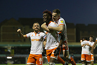 Blackpool's Armand Gnanduillet celebrates scoring his side's second goal <br /> <br /> Photographer Rob Newell/CameraSport<br /> <br /> The EFL Sky Bet League One - Southend United v Blackpool - Saturday 17th November 2018 - Roots Hall - Southend<br /> <br /> World Copyright &copy; 2018 CameraSport. All rights reserved. 43 Linden Ave. Countesthorpe. Leicester. England. LE8 5PG - Tel: +44 (0) 116 277 4147 - admin@camerasport.com - www.camerasport.com