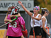 Garden City No. 1 Michaela Bruno, second from right, and No. 25 Kelly Aneser, far left, celebrate with goalie Sabrina Milone after their team's 9-0 win over Manhasset in the Nassau County varsity field hockey Class B final at Adelphi University on Sunday, November 1, 2015.<br /> <br /> James Escher
