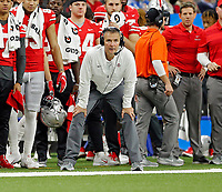 Ohio State Buckeyes head coach Urban Meyer watches his team during a punt return against Northwestern Wildcats during the 2nd quarter in the Big Ten Championship game in Indianapolis, Ind on December 1, 2018.  [Kyle Robertson/Dispatch]