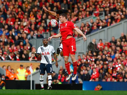 02.04.2016. Anfield, Liverpool, England. Barclays Premier League. Liverpool versus Tottenham Hotspur.  Spurs midfielder Mousa Dembélé wins a high ball against Liverpool midfielder James Milner.