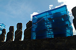 Moai undergoing preservation efforts in 2003 at Ahu Tongariki. Ahu Tongariki is the largest Ahu on Rapa Nui/Easter Island. Ahu Tongariki was substantially restored in the 1990s by a multidisciplinary team headed by archaeologists Claudio Cristino and Patricia Vargas.