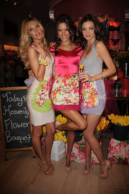 WWW.ACEPIXS.COM . . . . . ....April 24 2010, New York City....(L-R) Victoria's Secret Angels Candice Swanepoel, Alessandra Ambrosio and Miranda Kerr at the Victoria's Secret Beauty Heavenly Flowers launch at Victoria's Secret Soho on April 24, 2010 in New York City.....Please byline: KRISTIN CALLAHAN - ACEPIXS.COM.. . . . . . ..Ace Pictures, Inc:  ..(212) 243-8787 or (646) 679 0430..e-mail: picturedesk@acepixs.com..web: http://www.acepixs.com