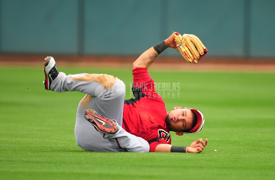Mar. 19, 2012; Phoenix, AZ, USA; Arizona Diamondbacks outfielder Gerardo Parra reacts after making a diving catch in the fourth inning against the Oakland Athletics during a spring training game at Phoenix Municipal Stadium.  Mandatory Credit: Mark J. Rebilas-