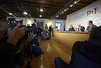 Roma, 6 Novembre 2013<br /> Sede nazionale del Partito Democratico.<br /> Conferenza stampa sulle prime fasi del congresso.<br /> Nella foto: il responsabile dell'organizzazione, Davide Zoggia e Guglielmo Epifani segretario del Partito Democratico