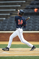 Tanner Morris (10) of the Virginia Cavaliers follows through on his swing against the Wake Forest Demon Deacons at David F. Couch Ballpark on May 19, 2018 in  Winston-Salem, North Carolina. The Demon Deacons defeated the Cavaliers 18-12. (Brian Westerholt/Four Seam Images)
