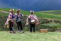 Peru, Moray, Urubamba Valley.  Quechua Musicians Welcoming Guests at the Parador de Moray.