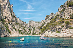 The Calanque d'En-Vau as viewed from a tourist boat along the Mediterranean coast of France between Marseille and Cassis.