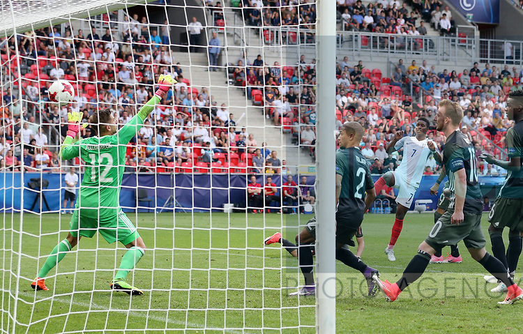 England's Demarai Gray scoring his sides opening goal during the UEFA Under 21 Semi Final at the Stadion Miejski Tychy in Tychy. Picture date 27th June 2017. Picture credit should read: David Klein/Sportimage