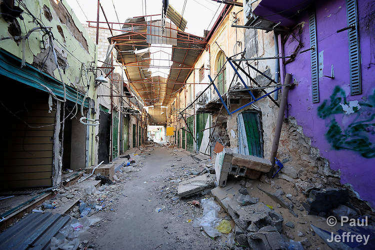 A street devastated by fighting in the center of Misrata, the besieged Libyan city where civilians and rebel forces are surrounded on three sides by forces loyal to Libyan leader Moammar Gadhafi.