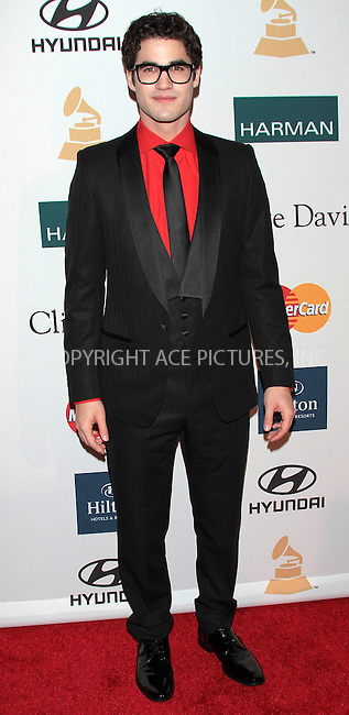 WWW.ACEPIXS.COM . . . . .  ..... . . . . US SALES ONLY . . . . .....February 11 2012, LA....Darren Criss at the Clive Davis Pre-Grammy Party at the Beverly Hilton Hotel in on February 11 2012 in Los Angeles ....Please byline: FAMOUS-ACE PICTURES... . . . .  ....Ace Pictures, Inc:  ..Tel: (212) 243-8787..e-mail: info@acepixs.com..web: http://www.acepixs.com